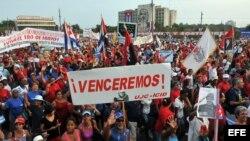 Desfiles en Cuba por el 1 de mayo.