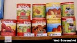 Latas de tomate en conserva