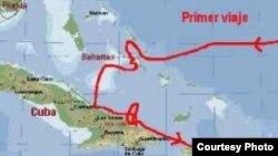 Detalle de la ruta del primer viaje de Colón.