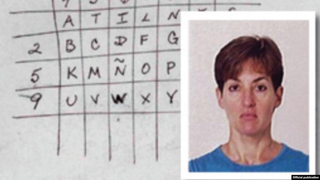 La espía Ana Belén Montes y uno de los códigos con que transmitía sus mensajes a Cuba.