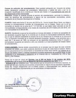 Documento expedido por la Dirección Provincial de Vivienda, Camagüey (II).