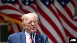 Donald Trump en el Jardín de las Rosas de la Casa Blanca.