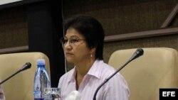 Sandra Ramírez, viuda de Marulanda en Cuba.
