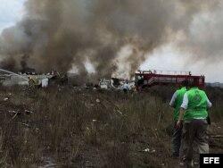 Escena del accidente del avión de Aeroméxico.