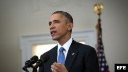 El presidente Barack Obama se dirige a la nación desde la Casa Blanca, el 17 de diciembre, 2014.