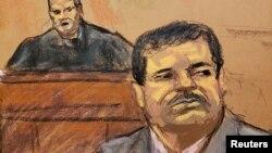"""Joaquín """"El Chapo"""" Guzmán durante la audiencia de sentencia en una corte federal de Nueva York. (REUTERS/Jane Rosenberg)"""