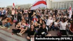 Plaza Independencia en Minsk el 14 de agosto 2020