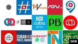 """Combinación de logos de publicaciones sobre temas cubanos que han sido ubicadas en """"lista negra"""" oficialista."""