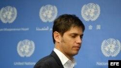 """El ministro de Economía de Argentina, Axel Kicillof, asiste hoy, miércoles 25 de junio de 2014, a una conferencia de prensa después del encuentro del G77 titulado """"Reestructuración de la Deuda Soberana: el caso de Argentina"""" en la sede de la Naciones Unid"""