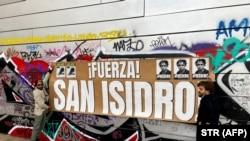 Una manifestación pro San Isidro realizada por cubanos en Barcelona, España (STR/AFP).