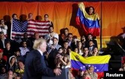 Donald Trump durante su discurso en Florida sobre la crisis en Venezuela el 18 de febrero de 2019.