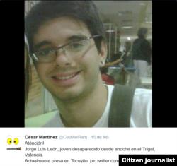 La foto de Jorge Luis circuló en las redes sociales tras su desaparición