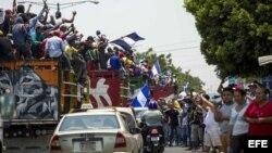 Campesinos llegan a Managua para protestar contra el gobierno de Daniel Ortega