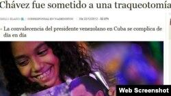 Titular de la información sobre la salud de Chávez en el ABC digital de este 22 de diciembre de 2012
