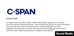 CSPAN afirma que fue pirateada la cuenta de Twitter de Scully