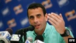 El candidato presidencial de la oposición venezolana Henrique Capriles Radonski