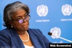 Linda Thomas-Greenfield sentada ante el micrófono, con el telón de fondo de las Naciones Unidas (© Mary Altaffer/AP Images)