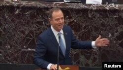 El congresista demócrata Adam Schiff en otro momento de su intervención el martes ante el Senado (Foto: Reuters).