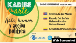 Promoción de KaribeArte sobre foro del Humor como arma política