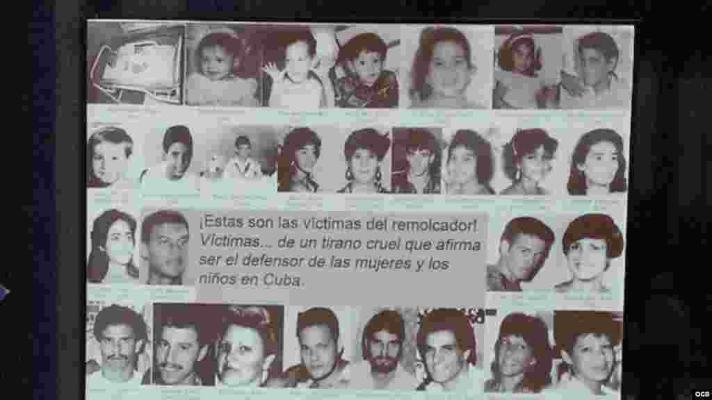 Placa de fotografías de las víctimas del remolcador 13 de marzo.