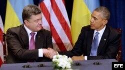 El presidente de EE. UU., Barack Obama (d), estrecha la mano del presidente electo ucraniano, Petro Poroshenko, durante la reunión que mantuvieron hoy, miércoles 4 de junio de 2014, en Varsovia (Polonia).