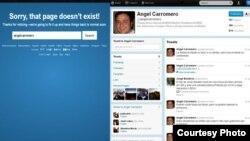 Twitter de Angel Carromero, antes y después