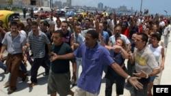 Acto de repudio y detención de opositores en Santa Clara