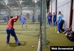 El entrenamiento de los peloteros cubanos.