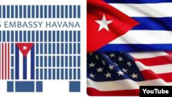 Reporta Cuba. Logos que identifican en Twitter a las embajadas de EEUU y Cuba.