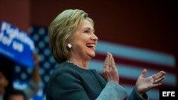 Hillary Clinton en un acto de campaña.