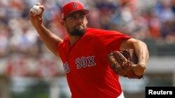 El lanzador abridor de los Medias Rojas de Boston, Nathan Eovaldi, en una foto de archivo. (Butch Dill-USA TODAY Sports)