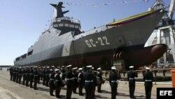 Botadura en el astillero de Navantia de una de las patrulleras construidas por España para la Armada de Venezuela.