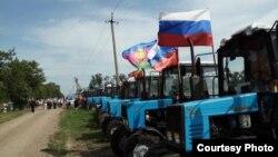 Tractoristas rusos en protesta.