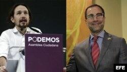 El eurodiputado Pablo Iglesias se reunió hoy con el embajador de Estados Unidos, James Costos.