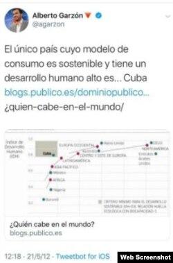 El tweet de 2012 borrado en 2020 por Garzón.