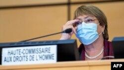 La Alta Comisionada Michelle Bachelet durante la apertura del Consejo de Derechos Humanos de la ONU, en Ginebra, el 14 de septiembre de 2020 (Martial Trezzini / AFP).