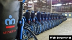 Sillas de ruedas. Fabrica Minerva Santa Clara, Cuba.