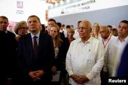 Borisov, jefe de la Comisión Intergubernamental Rusia-Cuba, junto a su contraparte cubana, Ricardo Cabrisas.