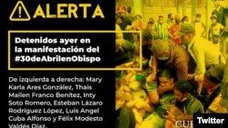 La alerta de Cubalex sobre los detenidos en Obispo. (Twitter/@CubalexDDHH)