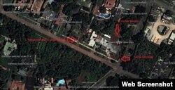 Secuencia de imágenes de satélite que muestra la remodelación de la casa de Mariela Castro.