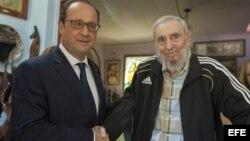 François Hollande, mantuvo en La Habana un encuentro con Fidel Castro.