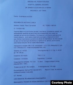 Resumen médico de Cristian Pérez Carmenate entregado a su madre tras más de 6 meses de reclamo legal.