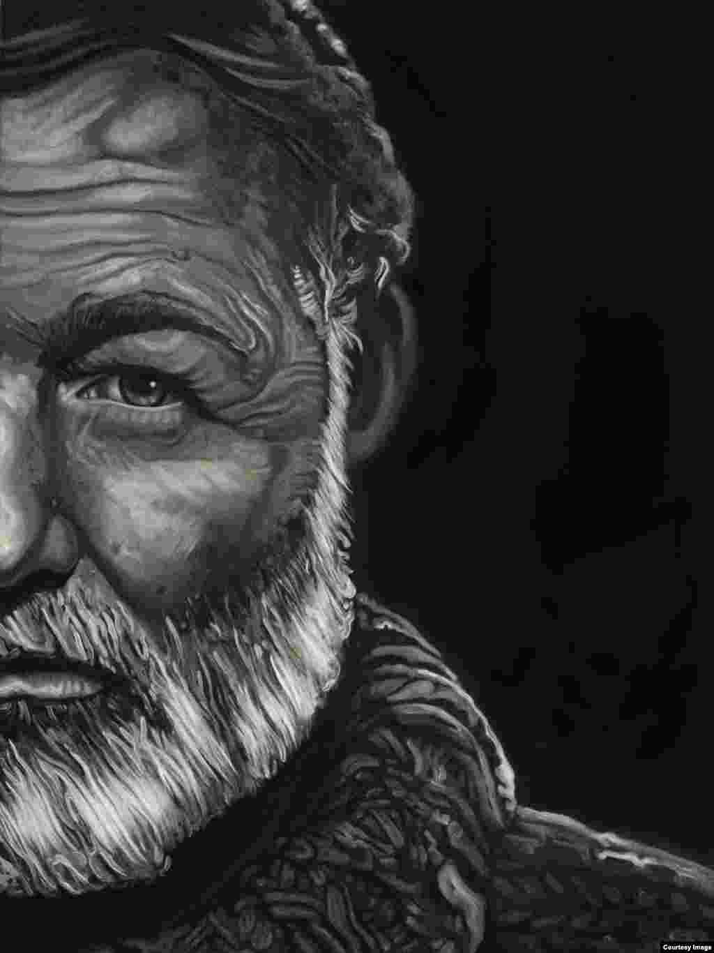 """Papa Hemingway"", Raúl Villarreal, óleo sobre lienzo (48x36), 2013."