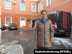 Svetlana a la salida del Comité de Investigación (2020)