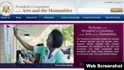 Imagen de pantalla de la web del Comité Presidencial para las Artes y las Humanidades de EEUU.