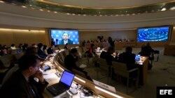- El alto comisionado de la ONU para los Derechos Humanos, Zeid Ra'ad al Husein, interviene mediante un mensaje de video en la reunión del Consejo de Derechos Humanos de la Organización de las Naciones Unidas (ONU) en Ginebra (Suiza) sobre la situación en