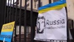 Protesta frente a Embajada de Rusia en Kiev