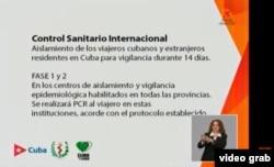 Gráfica presentada por la Mesa Redonda de la televisión cubana.