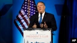 El secretario de Estado de EEUU, Mike Pompeo, en Heritage Foundation, en Washington.