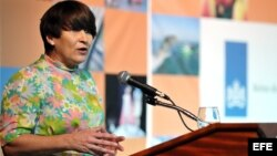 La ministra de Comercio Exterior y Cooperación al Desarrollo de los Países Bajos, Lilianna Ploumen, habla en el Seminario Empresarial Cuba-Países Bajos. EFE